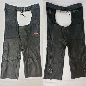 Harley Davidson XL Extra Large Black Leather Chaps